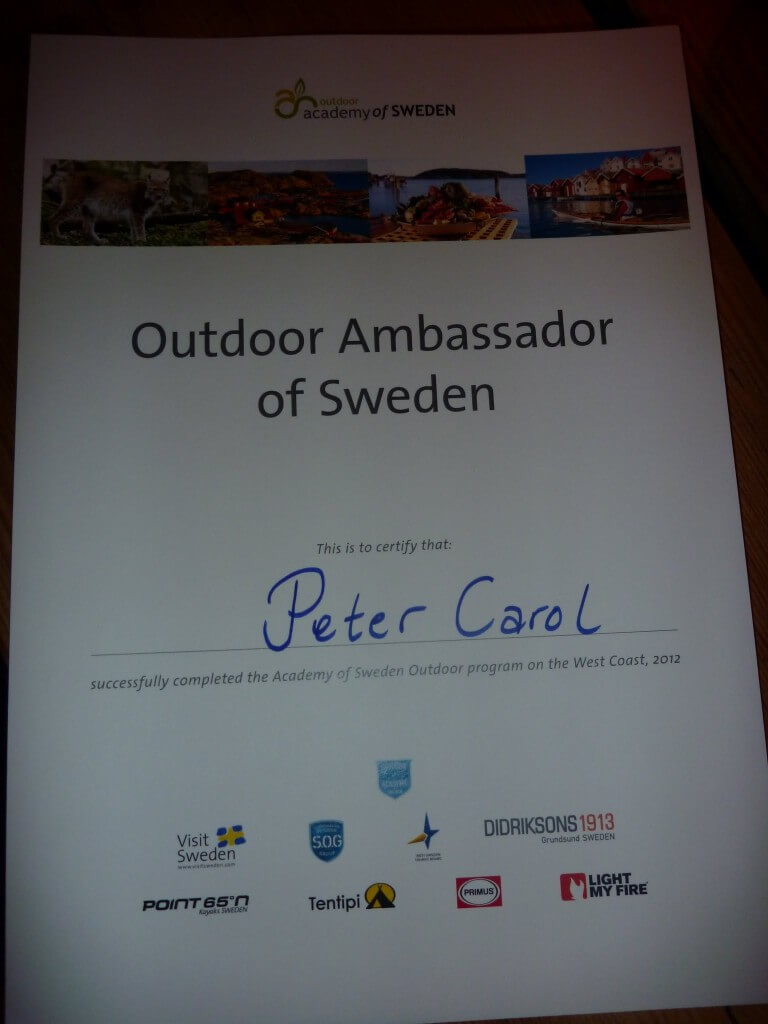 Peter Carol's Third Outdoor Ambassador of Sweden Certificate 2012