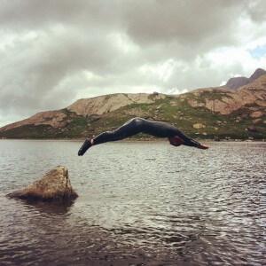 Gabs diving at Glasllyn on Snowdon