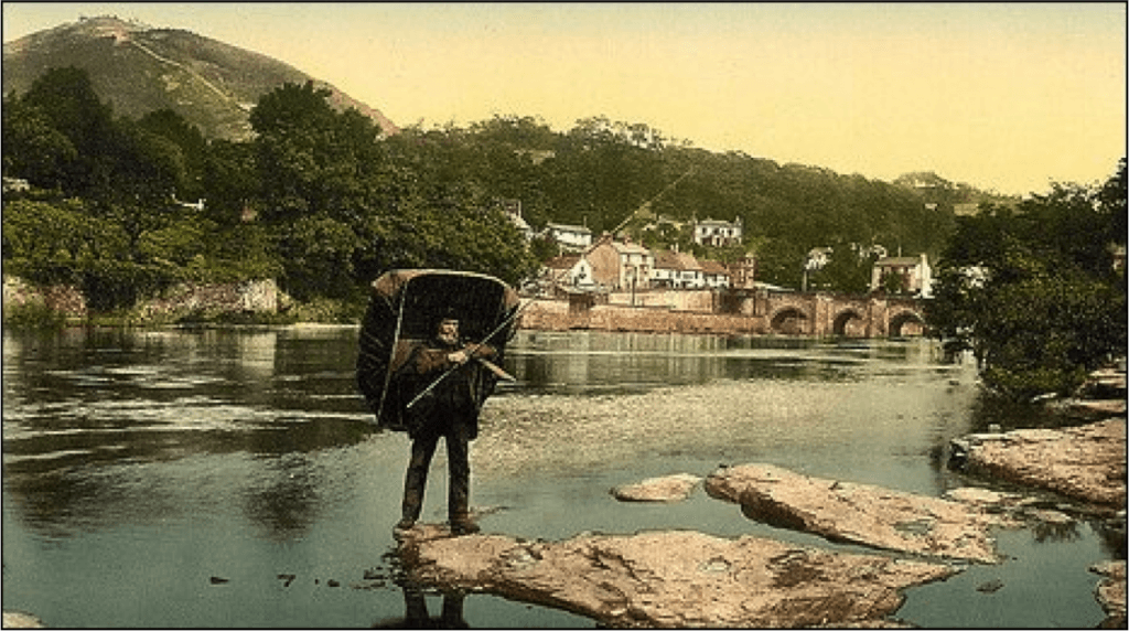 Coracle fisherman on the Welsh Dee