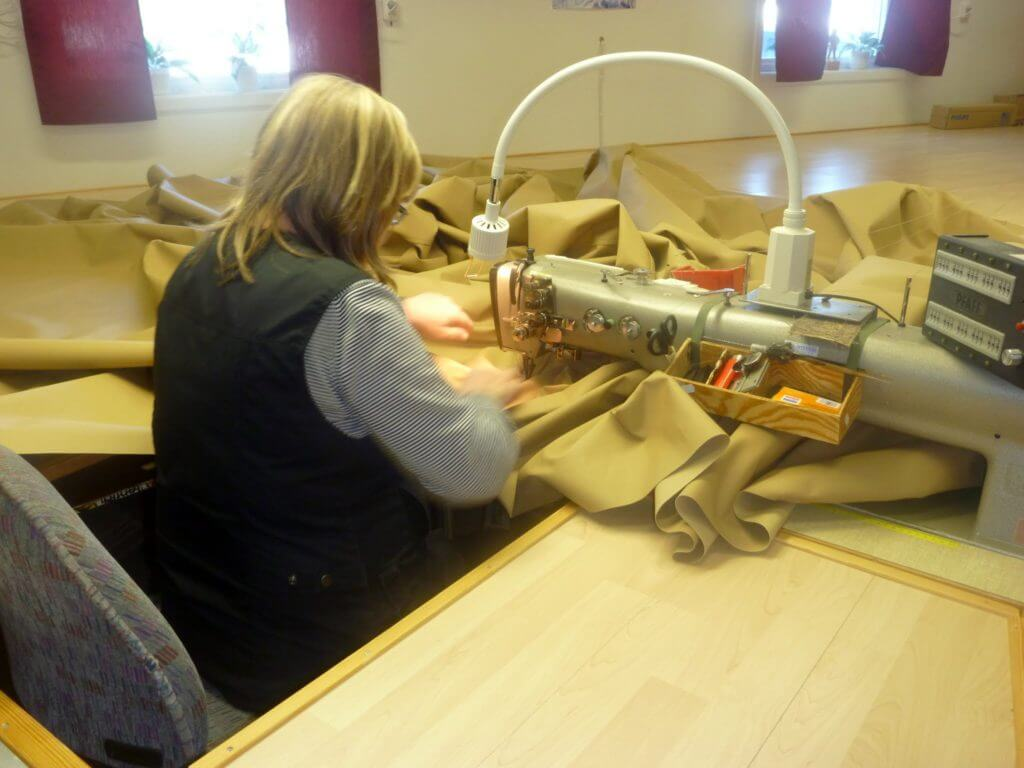 Working on Tentipi requires a hefty sewing machine and a very large table!