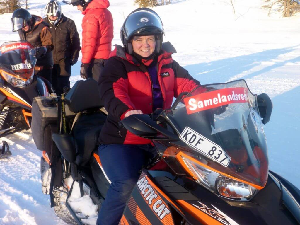 Heated handlebars and seats are sort of essential on a snowmobile in the Swedish cold.