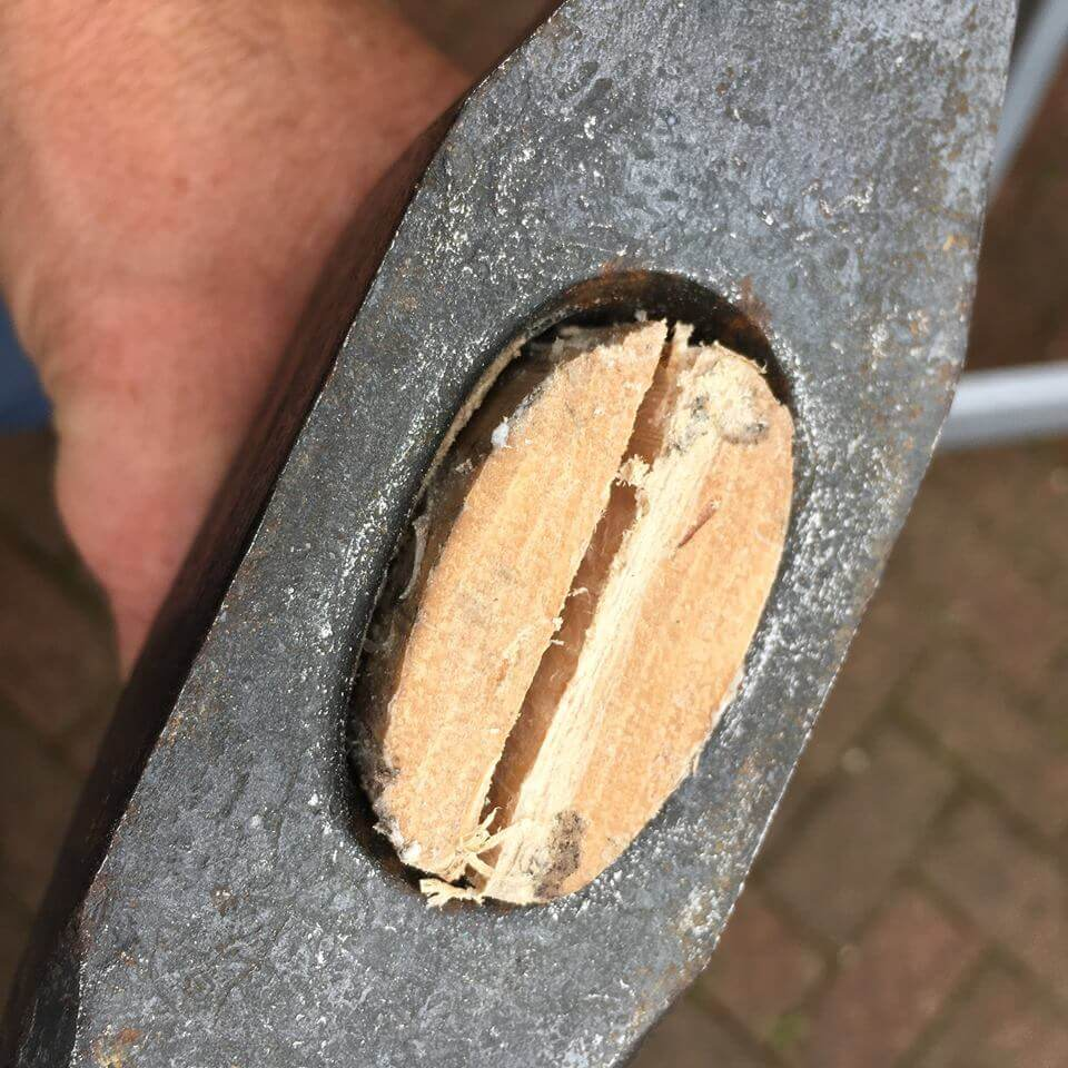 A gransfors axe handle ready for the wooden wedge.
