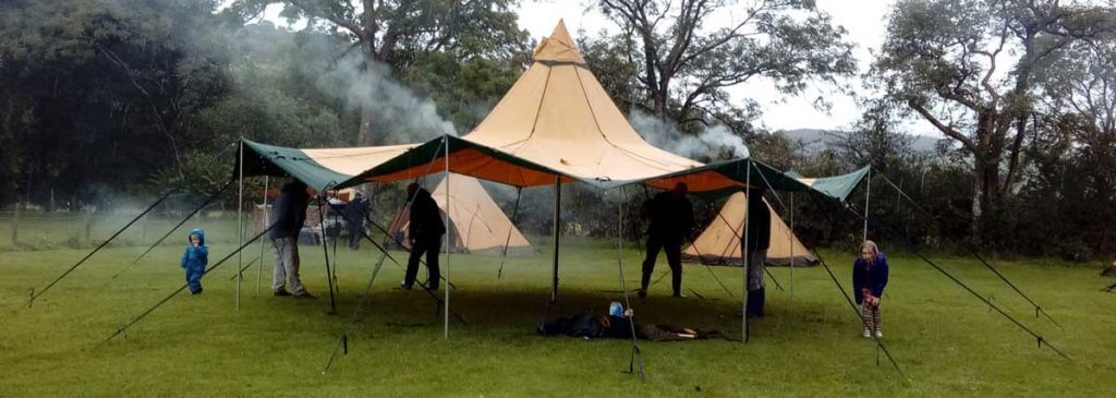 The Tentipi Zirkonflex with the sides raised makes a great event or sales space for a festival or show, the covered space is 8 metres across and 50 metres squared in area.