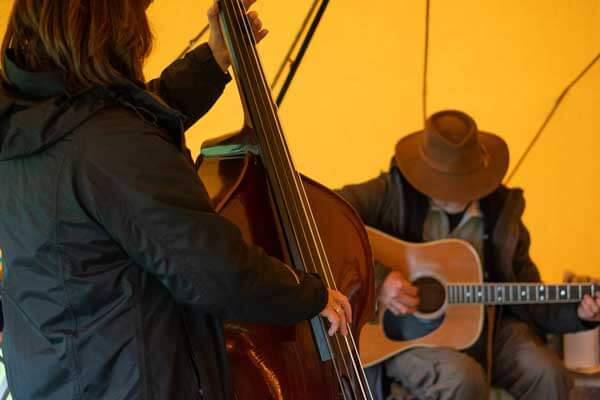 Music at Tentipi camp, double bass and guitar