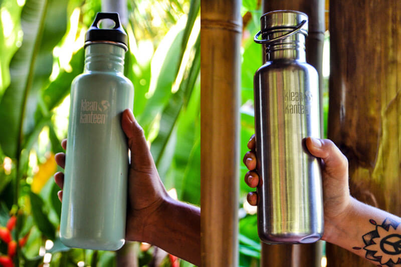 Klean Kanteen bottles with plastic and bamboo lids.