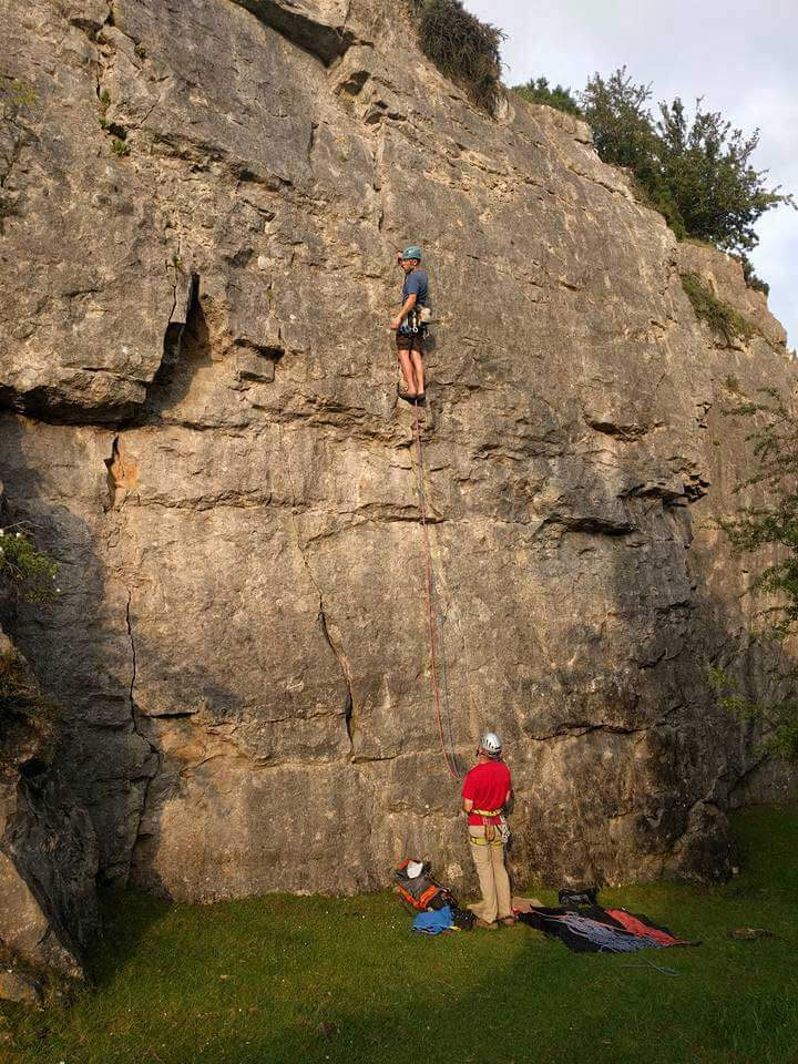 Rock Climbing on Limestone at Maeshafn, North of Llangollen