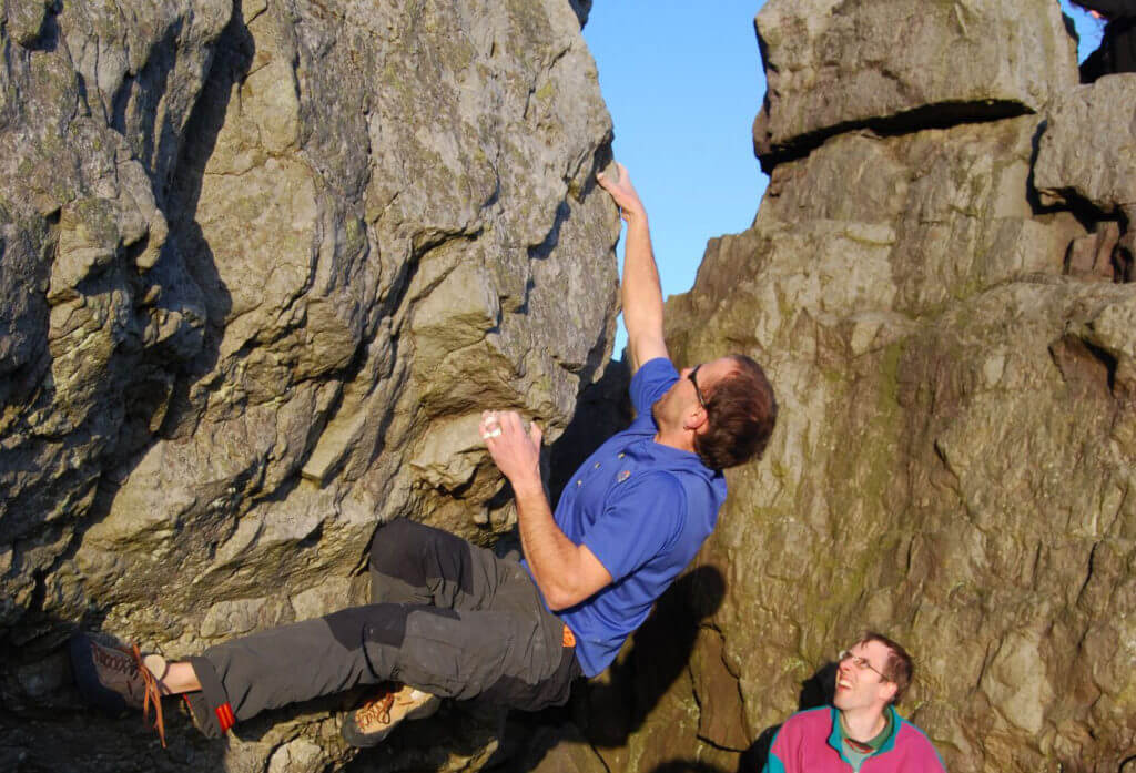 Ray Climbing at monument Boulders, Llangollen