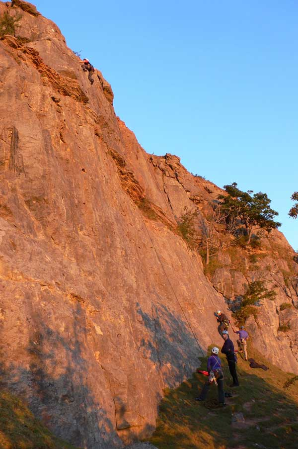 Sunset Rock Climbing at Furry Wall, near Trefor quarry, Llangollen