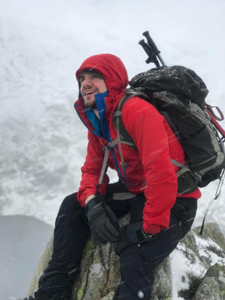 Clive Gibney in his Paramo Enduro above Cwm Lloer